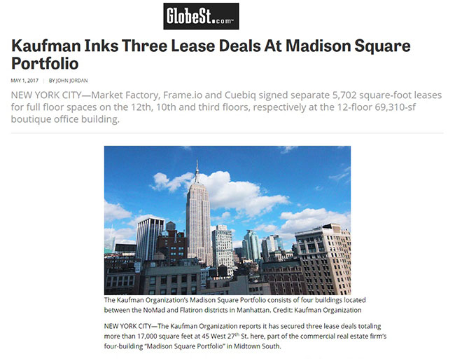 GlobeSt.com article: Kaufman Inks 3 Lease Deals