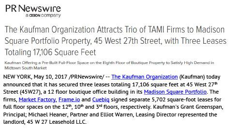 PR Newswire: Kaufman Organization Attracts Trio of TAMI Firms to Madison Square Portfolio Property