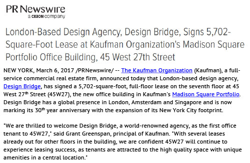 PR Newswire: London-Based Design Agency, Design Bridge, Signs 5,702-Square-Foot Lease