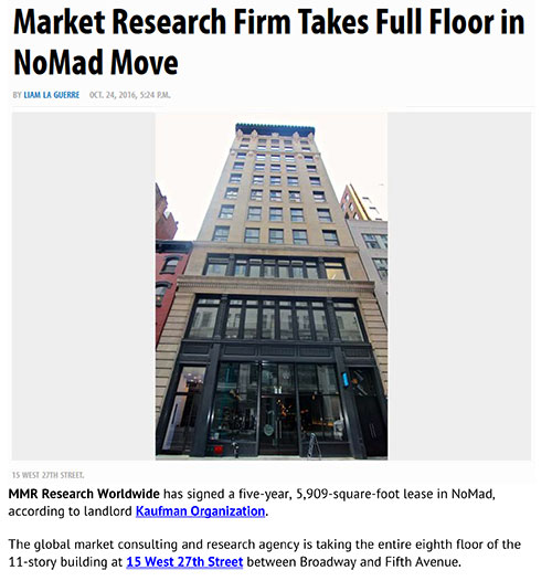 Market Research firm takes full floor: Commercial Observer preview