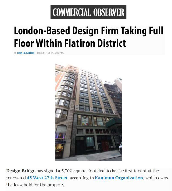 London Based Design Firm Taking Full Floor