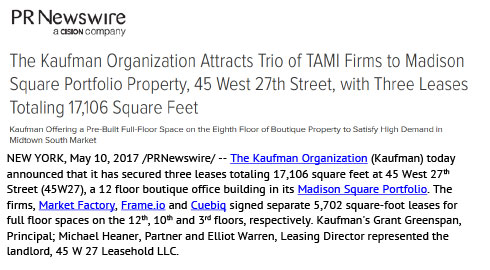 PR Newswire: Kaufman Organization Attracts Trio of TAMI Firms to Madison Square Portfolio Property