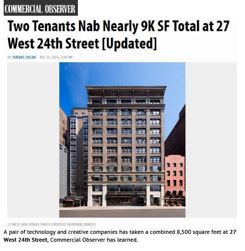 Commercial Observer: Two Tenants Nab Nearly 9K SF Total at 27 West 24th Street