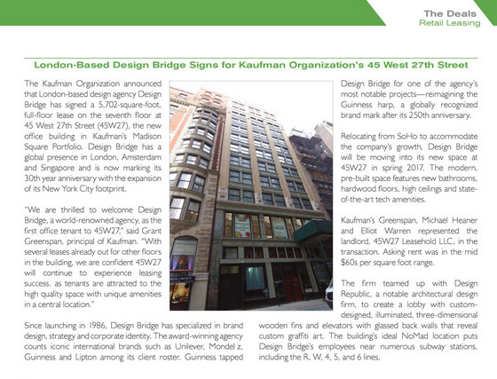 Mann Report: London-Based Design Bridge Signs for Kaufman Organization's 45 West 27th Street