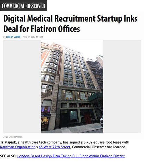 Commercial Observer: Digital Medical Recruitment Startup Inks Deal for Flatiron Offices