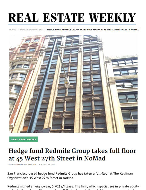Real Estate Weekly article: Redmile Group takes full floor at 45 West 27th Street in NoMad